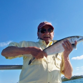 Lou with his fist bonefish on fly east Grand Bahama.