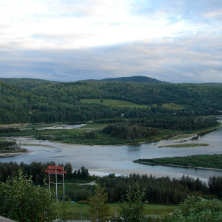 A view of the Restigouche River Lodge's private water looking up river from the confluence of the Matapedia RIver. Our water reaches up river 3.5 miles and for much of the season another 1.5 miles below the confluence to the Inter-provincial Bridge