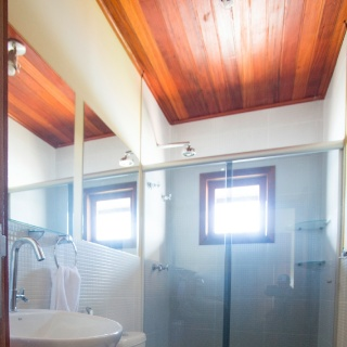 Complete bath room with pressurized hot shower