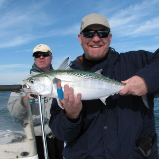 Martin of the Flymen Fishing Co. with his first albacore