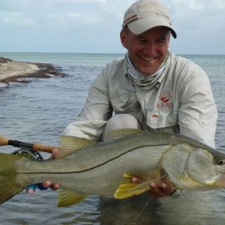 Alain with a big snook - Punta Allen fishing club