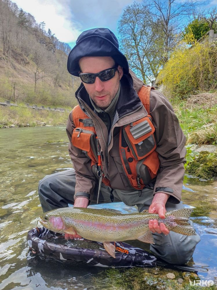 It was Klemen's first time at the river Idrijca, and straight he got his PB rainbow trout.